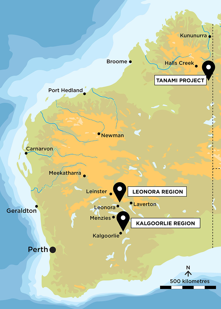 WA Map highlighting PVW Projects